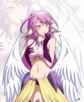1girl angel_wings asymmetrical_gloves bangs bare_shoulders blush breast_grab breasts commentary commission cowboy_shot crop_top darkstar31 dated elbow_gloves eyebrows_behind_hair feathered_wings finger_to_mouth gloves grabbing grabbing_own_breast gradient_hair groin hair_between_eyes halo highres jibril_(no_game_no_life) large_breasts long_hair looking_at_viewer low_wings midriff mismatched_legwear multicolored multicolored_eyes multicolored_hair navel no_game_no_life o-ring o-ring_top panties pink_hair pink_shirt purple_gloves purple_panties shirt sidelocks signature sleeveless sleeveless_shirt smile standing underwear very_long_hair waistcoat white_wings wing_ears wings yellow_eyes zoom_layer