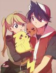 1boy 1girl bangs baseball_cap black_eyes black_hair blonde_hair brown_background chuchu_(pokemon) closed_mouth creature eye_contact gen_1_pokemon hat holding holding_pokemon long_hair looking_at_another pika_(pokemon) pikachu poke_ball poke_ball_(generic) pokemon pokemon_(creature) pokemon_on_shoulder pokemon_special ponytail red_(pokemon) red_eyes simple_background smile yellow_(pokemon) yui_ko
