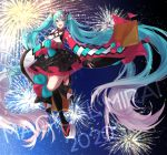 1girl 2020 absurdly_long_hair absurdres aqua_hair black_legwear black_skirt blue_eyes bow commentary copyright_name criss-cross_halter fang fireworks floating frilled_skirt frills full_body hair_ornament halterneck hatsune_miku highres huge_filesize japanese_clothes kimono long_hair looking_at_viewer magical_mirai_(vocaloid) mismatched_sleeves mizuamemochimochi night night_sky open_mouth red_sleeves single_thighhigh skirt sky smile solo thigh-highs twintails very_long_hair vocaloid white_sleeves wide_sleeves yukata zouri