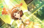 blush brown_eyes brown_hair dress idolmaster_cinderella_girls_starlight_stage nagatomi_hasumi short_hair smile