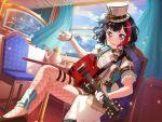 bang_dream! black_hair blush dress guitar hat mitake_ran red_eyes short_hair smile