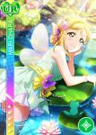 blonde_hair blush character_name dress fairy_wings love_live!_school_idol_festival love_live!_sunshine!! ohara_mari short_hair smile yellow_eyes