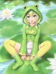 1girl animal_hood bangs blue_eyes boots breasts commentary_request eyebrows_visible_through_hair flower frog_hood frog_raincoat green_hair green_legwear highres hood lily_pad looking_at_viewer lotus medium_breasts medium_hair open_mouth original raincoat rubber_boots sasaame school_swimsuit sitting solo spread_legs swimsuit thigh-highs water white_school_swimsuit white_swimsuit