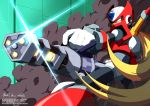 1boy absurdres armor blonde_hair deviantart_username gatling_gun glint gun highres holding holding_gun holding_weapon innovator123 long_hair male_focus pixiv_username rockman rockman_x rockman_x_dive smoke solo sword_hilt tumblr_username twitter_username watermark weapon web_address zero_(rockman)