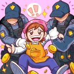 !! 1girl 2boys absurdres apron bandana bangs bitcoin brown_hair cooking_mama english_commentary faceless faceless_male hat highres long_sleeves mama_(cooking_mama) money multiple_boys open_mouth pants pink_background pocket police police_uniform policeman shirt signature simple_background sparkle star uniform white_shirt xsplosive yellow_apron