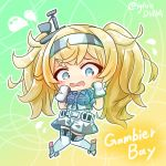 1girl asimo953 belt blonde_hair blue_eyes breast_pocket character_name chibi flying_sweatdrops full_body gambier_bay_(kantai_collection) gloves gradient gradient_background hairband highres kantai_collection knees_together_feet_apart long_hair pocket shorts solo twintails twitter_username white_gloves