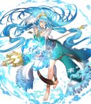 1girl artist_request asymmetrical_legwear azura_(fire_emblem) bangs barefoot belt blue_hair breasts dress fingerless_gloves fire_emblem fire_emblem_fates fire_emblem_heroes full_body gloves hair_between_eyes hair_ornament highres holding holding_weapon jewelry long_hair long_sleeves medium_breasts necklace official_art polearm shiny shiny_hair snowflakes solo spear thigh_strap toes turtleneck veil very_long_hair water weapon yellow_eyes