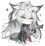 1girl animal_ear_fluff animal_ears arknights arm_guards bangs black_jacket closed_mouth commentary_request eyebrows_visible_through_hair full_body green_eyes hair_between_eyes hair_ornament hairclip jacket katana kotatu_(akaki01aoki00) lappland_(arknights) light_smile long_hair long_sleeves looking_at_viewer scar scar_across_eye seiza silver_hair simple_background sitting sleeves_past_fingers sleeves_past_wrists solo sword tail very_long_hair weapon white_background wide_sleeves