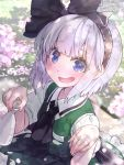 1girl :d ascot bangs black_hairband black_neckwear black_ribbon blue_eyes blush cherry_blossoms commentary_request eyebrows_visible_through_hair green_skirt green_vest hair_ribbon hairband hands_up holding konpaku_youmu looking_at_viewer open_mouth petals petticoat puffy_short_sleeves puffy_sleeves ribbon shirt short_hair short_sleeves silver_hair skirt skirt_set smile solo syuri22 tokkuri touhou upper_body vest white_shirt