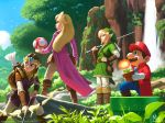 2boys 2girls arrow bag blonde_hair blue_eyes boots bow_(weapon) brown_hair coat commentary english_commentary facial_hair fire_flower forest gloves highres knee_boots link long_hair mario mario_(series) master_sword mauricio_abril multiple_boys multiple_girls mushroom mustache nature outdoors parody pointy_ears princess_peach princess_zelda quiver shield short_hair style_parody super_mario_bros. super_mushroom sword the_legend_of_zelda tiara tunic warp_pipe water waterfall weapon
