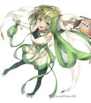 1girl :d anna_mel aqua_eyes arm_up armpits bangs bare_shoulders black_legwear blunt_bangs blush breasts card detached_sleeves dress english_text eyebrows_visible_through_hair floating_hair from_above full_body green_hair green_ribbon green_theme grey_footwear highres holding holding_card jewelry legs_apart looking_at_viewer magia_record:_mahou_shoujo_madoka_magica_gaiden mahou_shoujo_madoka_magica medium_breasts necklace open_mouth outstretched_arm pantyhose perspective pumps ribbon shiny shiny_hair shoes short_dress short_hair simple_background sleeveless sleeveless_dress smile smoke solo soul_gem standing standing_on_one_leg starry_sky_print strappy_heels tarot teeth the_tower tower twitter_username unusablenameaaa upper_teeth v-shaped_eyebrows veil white_background white_dress