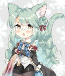 1girl american_flag american_flag_print animal_ear_fluff animal_ears arm_belt azur_lane bangs bare_shoulders belt black_coat black_legwear black_skirt blue_bow blush bow bowtie cat_ears cat_tail coat collared_shirt commentary_request cowboy_shot crossed_arms drill_hair eyebrows_visible_through_hair fang flag_print flat_chest floral_background glasses green_hair grey_background hair_between_eyes hair_bow hair_bun highres juugou_taki kemonomimi_mode langley_(azur_lane) long_hair long_sleeves looking_at_viewer miniskirt navel navel_cutout off-shoulder_coat open_clothes open_coat open_mouth pantyhose red_bow shirt side_bun sidelocks simple_background skin_fang skirt sleeveless sleeveless_shirt solo standing swept_bangs tail white_belt white_shirt yellow_eyes