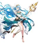 1girl artist_request asymmetrical_legwear azura_(fire_emblem) bangs barefoot belt blue_hair breasts dress fingerless_gloves fire_emblem fire_emblem_fates fire_emblem_heroes full_body gloves hair_between_eyes hair_ornament hand_up highres holding holding_weapon jewelry long_hair long_sleeves medium_breasts necklace official_art polearm shiny shiny_hair solo spear thigh_strap toes torn_clothes turtleneck veil very_long_hair weapon yellow_eyes