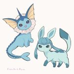 :3 :d ayu_(mog) bright_pupils gen_1_pokemon gen_4_pokemon glaceon looking_at_viewer no_humans open_mouth pokemon pokemon_(creature) signature simple_background smile standing_on_three_legs vaporeon violet_eyes white_background