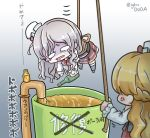 2girls anger_vein asimo953 blonde_hair bottle braid bucket drooling eyes_visible_through_hair french_braid gradient grey_hair hanging hat highres kantai_collection mini_hat multiple_girls pipe pola_(kantai_collection) rope translated twitter_username wavy_hair wine_bottle zara_(kantai_collection)