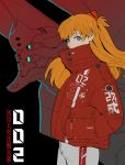 1girl absurdres alternate_costume angel bangs black_background blue_eyes ching_yeh collared_jacket ear_piercing earrings eva_02 from_side grey_pants hair_ornament hairclip hand_in_pocket hands_in_pockets highres jacket jewelry long_hair long_sleeves looking_at_viewer mecha neon_genesis_evangelion number orange_hair pants piercing red_jacket sachiel simple_background solo souryuu_asuka_langley standing translation_request upper_body