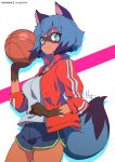 1girl animal_ears ball basketball black_hair black_shorts blue_hair brand_new_animal breasts closed_mouth cowboy_shot furry green_eyes holding holding_ball hong_(white_spider) jacket kagemori_michiru long_sleeves looking_at_viewer medium_breasts multicolored_hair patreon_logo patreon_username raccoon_ears raccoon_tail red_jacket shadow short_hair shorts simple_background smile solo tail track_jacket watermark white_background