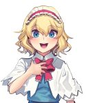 1girl :d absurdres alice_margatroid blonde_hair blue_shirt blush boa_(brianoa) bow bowtie capelet eyebrows_visible_through_hair fingernails frilled_hairband frills hairband hand_up highres looking_at_viewer open_mouth red_neckwear shirt short_hair short_sleeves simple_background smile solo touhou upper_body white_background white_capelet