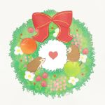 ayu_(mog) blush bow daisy eye_contact flower green_apple heart hedgehog looking_at_another no_humans original red_apple red_bow signature simple_background white_background white_flower wreath