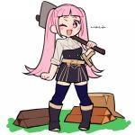 1girl artist_name axe belt blue_legwear boots do_m_kaeru fire_emblem fire_emblem:_three_houses garreg_mach_monastery_uniform hilda_valentine_goneril holding holding_axe long_hair one_eye_closed open_mouth pink_eyes pink_hair solo thigh-highs tree_stump twintails uniform