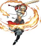 1girl abs bandaged_arm bandages bangs bare_shoulders biceps boots breasts club dark_skin facial_mark fire fire_emblem fire_emblem_fates fire_emblem_heroes full_body fur_trim highres holding holding_weapon kanabou lips mask mask_on_head medium_breasts midriff muscle muscular_female navel official_art open_mouth pants rinkah_(fire_emblem) sarashi solo spiked_club stomach toshiyuki_kusakihara weapon