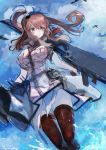 1girl absurdres aircraft airplane bangs breast_pocket breasts brown_hair clouds dress drum_magazine flight_deck highres holding kantai_collection large_breasts long_hair nagasawa_tougo outdoors pocket red_legwear remodel_(kantai_collection) rigging saratoga_(kantai_collection) side_ponytail sky smokestack_hair_ornament solo thigh-highs turret violet_eyes water white_dress