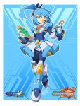 1girl 2019 aqua_eyes aqua_hair armor copyright_name eyebrows_visible_through_hair headphones highres holding logo looking_at_viewer navigator rico_(rockman) rockman rockman_x rockman_x_dive rockman_zx side_ponytail signature smile solo stylus tomycase