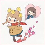 2girls :d animal_on_head ayu_(mog) bangs bird bird_on_head blue_sailor_collar blue_shirt blue_skirt blush braid brown_coat brown_hair chick closed_eyes coat double-breasted grey_legwear hair_ornament hairclip heart holding_letter letter long_sleeves multiple_girls neckerchief nose_blush on_head open_mouth original pantyhose plaid plaid_scarf pleated_skirt red_neckwear red_scarf sailor_collar scarf school_uniform serafuku shirt signature simple_background skirt smile standing standing_on_one_leg swept_bangs twin_braids white_background yuri