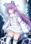 1girl absurdres animal_ears azur_lane blue_eyes blush brown_sweater chain coat eyebrows_visible_through_hair fake_animal_ears feng_mao_mc fur-trimmed_coat fur-trimmed_sleeves fur_trim hair_ornament hair_ribbon highres long_hair long_sleeves looking_at_viewer purple_hair ribbon shirt snow solo sweater tashkent_(azur_lane) thigh-highs very_long_hair very_long_sleeves white_coat white_legwear winter winter_clothes