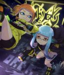 2girls annotated aqua_eyes aqua_hair background_text bangs bike_shorts black_cape black_footwear black_shirt black_shorts blunt_bangs cape closed_mouth commentary domino_mask english_text gun headgear hero_dualies_(splatoon) hero_shot_(splatoon) holding holding_gun holding_weapon inkling jacket jumping light_frown light_particles long_hair long_sleeves looking_at_another mask multiple_girls neon_lights orange_eyes orange_hair shirt shoes short_hair shorts smile sneakers splatoon_(series) splatoon_1 splatoon_2 splatoon_2:_octo_expansion squidbeak_splatoon standing takeko_spla tentacle_hair torn_cape torn_clothes upside-down vest weapon yellow_jacket yellow_vest