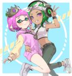 ! 2girls arm_around_waist bandana bangs blue_background blunt_bangs chain closed_mouth commentary cosplay crop_top crown dark_skin denim domino_mask dress dutch_angle frown green_eyes green_footwear grey_footwear grey_headwear grey_pants grin headband headphones hime_(splatoon) hime_(splatoon)_(cosplay) hood hood_down hooded_dress hoodie iida_(splatoon) iida_(splatoon)_(cosplay) inkling jeans jewelry leg_up long_sleeves looking_at_viewer makeup mascara mask medium_hair midriff multiple_girls necklace no_legwear octarian octoling open_fly outside_border pants pendant pink_dress pointy_ears ring sharp_teeth shirt shoes short_hair sleeveless sleeveless_shirt smile sneakers splatoon_(series) standing standing_on_one_leg straight-laced_footwear suction_cups sweater sweater_dress takeko_spla teeth tentacle_hair tilted_headwear violet_eyes watch watch wavy_hair white_headband white_shirt
