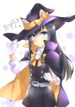 1girl absurdres artist_name asashio_(kantai_collection) black_hair blue_eyes blush cape dated eyebrows_visible_through_hair gloves hair_between_eyes halloween halloween_costume hat highres kantai_collection long_hair multicolored multicolored_cape multicolored_clothes narumiya_(empty_cafe) remodel_(kantai_collection) signature solo white_gloves witch_hat