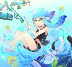 1girl air_bubble bangs barefoot black_shirt black_shorts blue_footwear blue_hair blue_headwear blunt_bangs boonie_hat bubble classic_squiffer_(splatoon) closed_mouth commentary day domino_mask dress_shirt emblem finger_to_chin green_eyes green_shirt gym_shorts inkling light_frown long_hair mask mouth_mask navel pointy_ears shirt shoes short_shorts shorts solo splash-o-matic_(splatoon) splatoon_(series) splatoon_2 splattershot_pro_(splatoon) squid submerged sunlight t-shirt takeko_spla tank_top tentacle_hair underwater white_shirt