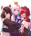 3girls ange_katrina animal_ears animal_on_head anniversary bangs black_hair blue_eyes blue_hair blunt_bangs blush closed_mouth dog_ears dog_girl dog_hair_ornament flower hair_between_eyes hair_flower hair_intakes hair_ornament hairclip heterochromia highres hug inui_toko jacket japanese_clothes lize_helesta long_hair long_sleeves looking_at_viewer low_twintails maid_headdress monocle multicolored_hair multiple_girls nijisanji obi on_head open_mouth outstretched_arm red_eyes red_jacket redhead sash sebastian_piyodore short_hair simple_background smile twintails two-tone_hair virtual_youtuber wa_maid white_background white_hair yellow_eyes yuuki_nao_(pixiv10696483)