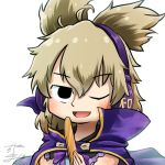 1girl avatar_icon blonde_hair bow bowtie cape chamaji commentary eyebrows_visible_through_hair hair_between_eyes headphones looking_at_viewer lowres one_eye_closed open_mouth pointy_hair purple_cape ritual_baton shirt short_hair signature sleeveless sleeveless_shirt smile solo touhou toyosatomimi_no_miko upper_body white_background