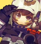 1girl adjusting_headwear animal_on_shoulder arknights black_gloves blush_stickers brown_eyes brown_hair character_name coat copyright_name english_text firefighter gloves helmet hose k.k_(pixiv) looking_at_viewer shaw_(arknights) short_hair simple_background solo squirrel strap upper_body white_helmet yellow_background