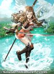 1girl black_gloves blue_sky brown_eyes brown_hair clouds company_name copyright_name day feathered_wings fire_emblem fire_emblem_cipher fire_emblem_fates gloves hana_(fire_emblem) headband holding holding_sword holding_weapon long_hair official_art open_mouth outdoors pegasus scabbard sheath sky solo sword tenshu_(mighto) water weapon white_headband white_wings wings