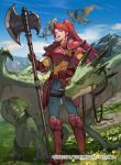 1girl armor axe belt blue_sky clouds company_name copyright_name dragon fire_emblem fire_emblem:_path_of_radiance fire_emblem_cipher grass holding holding_axe jill_(fire_emblem) jpeg_artifacts kureta_(nikogori) long_hair mountain official_art open_mouth outdoors ponytail red_eyes redhead riding sky solo_focus wyvern