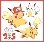 ! :3 :d artsy-rc baseball_cap birthday birthday_cake border cake candle clothed_pokemon commentary dated ears_through_headwear english_commentary english_text food gen_1_pokemon hand_on_hip hat no_humans open_mouth pikachu pikachu_day pokemon pokemon_(creature) red_border red_headwear simple_background smile standing v white_background