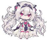 1girl beretta_x'rain chibi cross_hair_ornament grey_hair hair_ornament long_hair pink_eyes white_hair white_legwear x_enc'ount