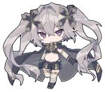1girl artist_request chibi cross_hair_ornament gloves grey_gloves hair_ornament open_fly ribbon striped striped_ribbon violet_eyes virtual_youtuber white_sleeves x'flare x_enc'ount