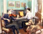 2boys belt black_hair blue-framed_eyewear blue_eyes carpet chair closed_eyes collared_shirt crossed_legs dog glasses hair_slicked_back highres instrument katsuki_yuuri kuroemon light_particles makkachin male_focus multiple_boys music open_mouth painting_(object) piano piano_bench playing_instrument shirt silver_hair sitting slippers smile vase viktor_nikiforov violin violin_bow yuri!!!_on_ice