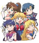5girls :d ;d ;o aino_minako bangs between_fingers bishoujo_senshi_sailor_moon black_cat black_hair blonde_hair blue_bow blue_eyes blue_hair blue_neckwear blue_sailor_collar blue_skirt bow brooch brown_hair cat choker circlet crescent crescent_choker crescent_earrings double_bun earrings elbow_gloves electricity gloves green_eyes green_neckwear green_sailor_collar hair_bobbles hair_bow hair_ornament heart highres hino_rei inner_senshi jewelry kino_makoto long_hair looking_at_viewer luna_(sailor_moon) magical_girl mizuno_ami multiple_girls ofuda one_eye_closed open_mouth orange_neckwear orange_sailor_collar parted_bangs pink_bow pleated_skirt ponytail purple_bow red_bow red_neckwear red_sailor_collar sailor_collar sailor_jupiter sailor_mars sailor_mercury sailor_moon sailor_senshi sailor_senshi_uniform sailor_venus short_hair simple_background skirt smile star star_earrings tsubobot tsukino_usagi twintails upper_body v white_background white_gloves