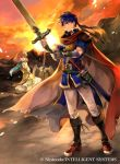 1boy 1girl axe belt blue_eyes blue_hair boots brother_and_sister brown_hair cape closed_mouth company_name copyright_name fire_emblem fire_emblem:_path_of_radiance fire_emblem_cipher flower from_side green_headband headband holding holding_sword holding_weapon ike_(fire_emblem) looking_to_the_side mist_(fire_emblem) official_art outdoors petals red_cape scabbard sheath sheathed short_hair short_sleeves siblings sky sword wada_sachiko weapon