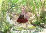 animal_ears bare_shoulders branch detached_sleeves forest hat inubashiri_momiji konabetate leaf maple_leaf nature pom_pom_(clothes) red_eyes red_skirt ribbon-trimmed_sleeves ribbon_trim short_hair skirt tail tokin_hat touhou white_hair wolf wolf_ears wolf_tail
