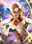 1girl blue_eyes brown_hair company_name copyright_name fire_emblem fire_emblem:_path_of_radiance fire_emblem:_radiant_dawn fire_emblem_cipher full_body holding holding_staff long_hair mayo_(becky2006) mist_(fire_emblem) official_art open_mouth outdoors petals short_sleeves sky solo staff tree