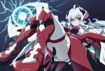 1girl ahoge ass boots breasts electricity headgear headphones large_breasts lavender_hair long_hair looking_at_viewer lying on_back red_legwear senki_zesshou_symphogear senki_zesshou_symphogear_xd_unlimited simple_background skirt solo thigh-highs uganda violet_eyes white_legwear yukine_chris