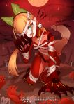 1girl absurdres andou_inari bandages blue_eyes breasts choumi_wuti_(xueye_fanmang_zhong) claw_(weapon) fox_girl halloween highres moon nude orange_hair robot_ears robot_joints solo virtual_youtuber vr_link weapon