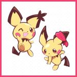 :< :d ^_^ artsy-rc border closed_eyes commentary ear_ornament english_commentary gen_2_pokemon highres looking_at_viewer no_humans open_mouth pichu pokemon pokemon_(creature) polka_dot polka_dot_background red_border signature smile