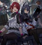 4girls :d animal_ears arknights black_gloves black_hair black_legwear blonde_hair cape crate croissant_(arknights) exusiai_(arknights) fingerless_gloves fox_tail gloves hair_over_one_eye halo high_collar holding holding_hands horns ipad jacket long_hair looking_at_viewer miniskirt multiple_girls noy open_mouth orange_eyes orange_hair pantyhose red_eyes redhead short_hair sitting skirt smile sora_(arknights) standing strap tablet_pc tail texas_(arknights) white_jacket wolf_ears